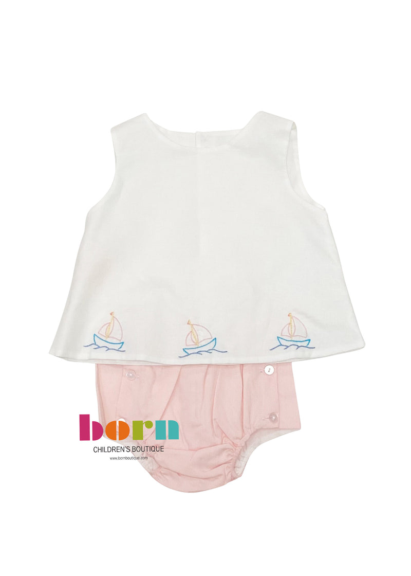 Girl Sailboat Diaper Set - Born Childrens Boutique