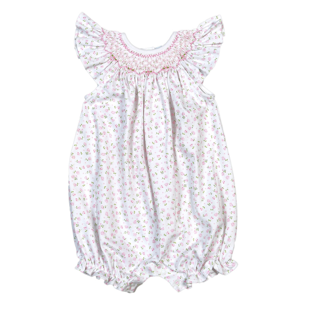 Alice Pink Floral Pima Hand Smocked Bishop Bubble - Born Childrens Boutique