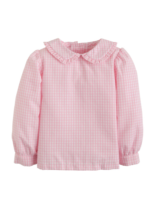Ruffled Peter Pan Blouse - Pink Gingham