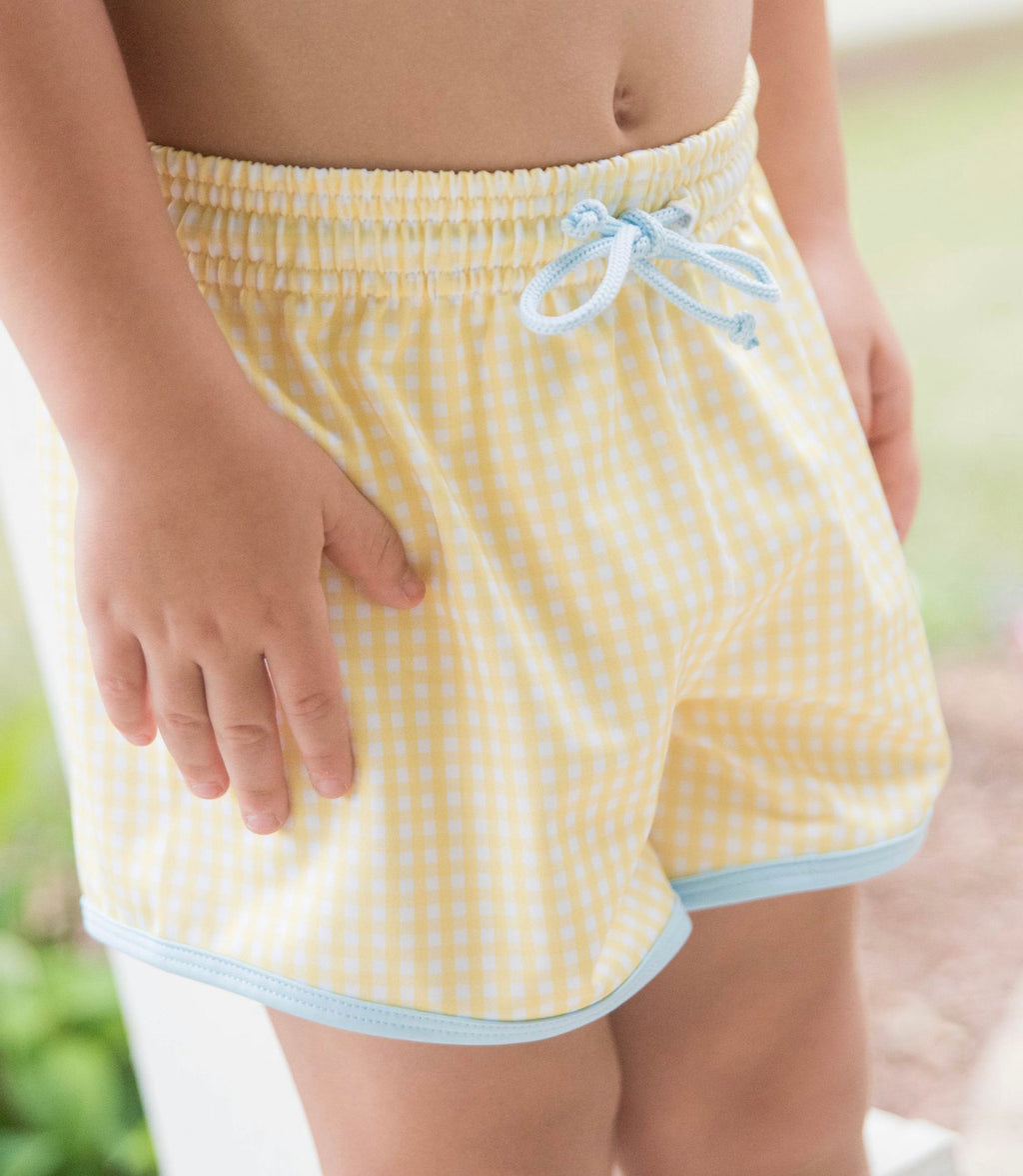 James Swim Shorts - Yellow Check with Light Blue Tie - Born Childrens Boutique
