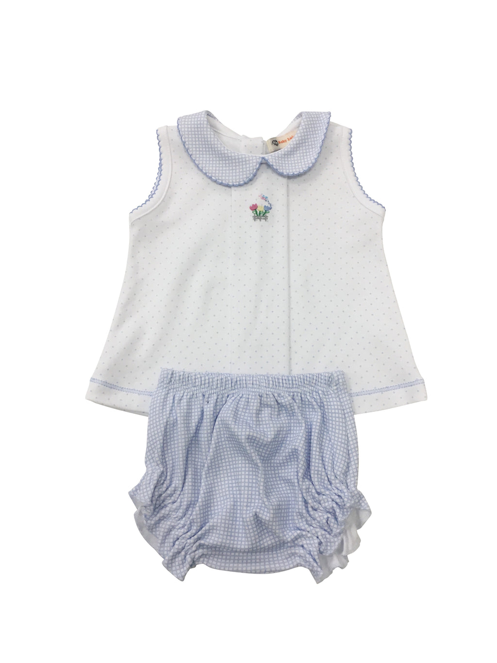 Blue Dot with Blue Gingham Knit Bloomer Set - Flowers - Born Childrens Boutique