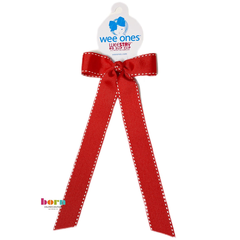 Wee Ones Red/White Stitch Bow with Tail - Born Childrens Boutique
