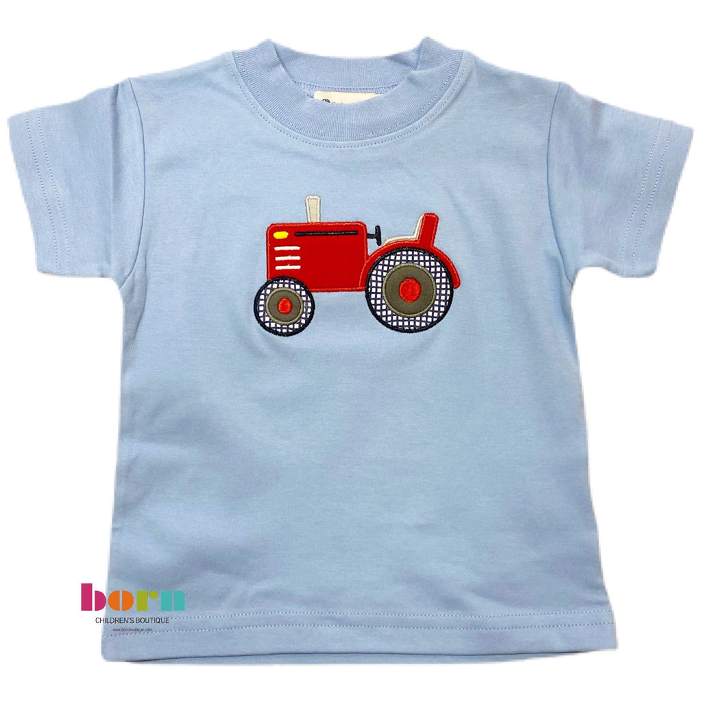 Boy S/S T-Shirt Tractor Sky Blue - Born Childrens Boutique