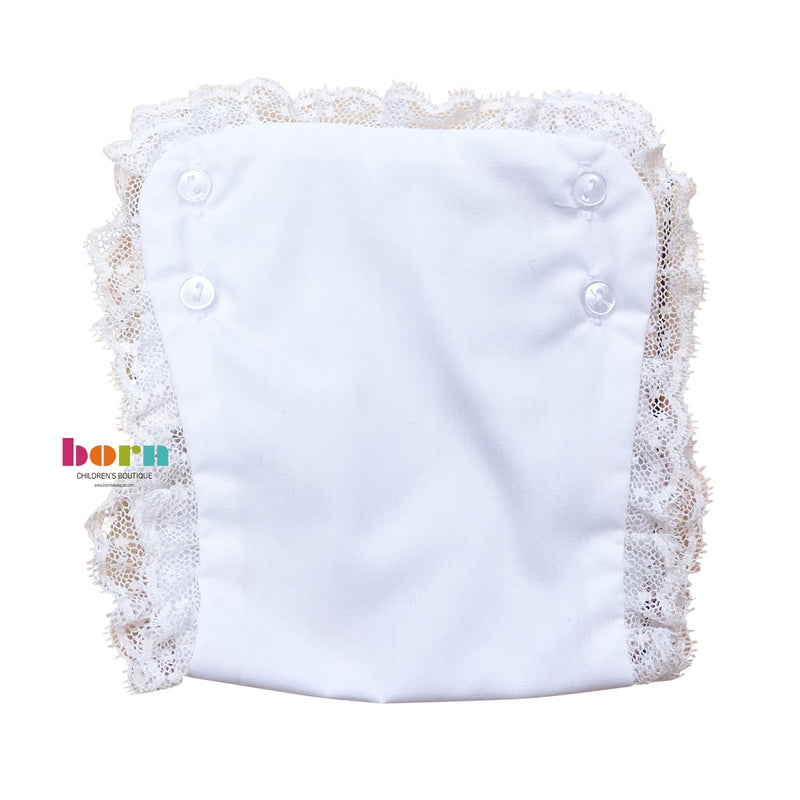 Lace Newborn Diaper Cover White with Ecru - Born Childrens Boutique