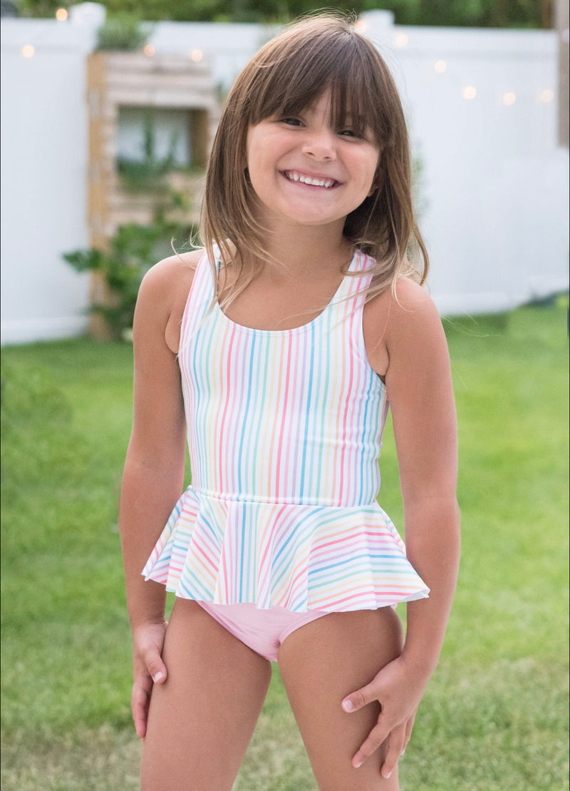 Pre-Order Collette Two Piece Swim - Peplum Rainbow - Born Childrens Boutique