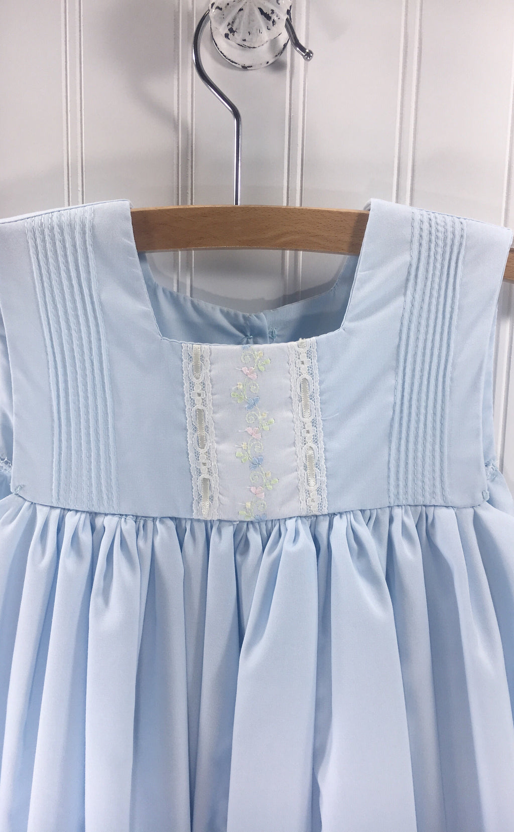 Heirloom Sleeveless Blue Dress with Floral Insert - Born Childrens Boutique
