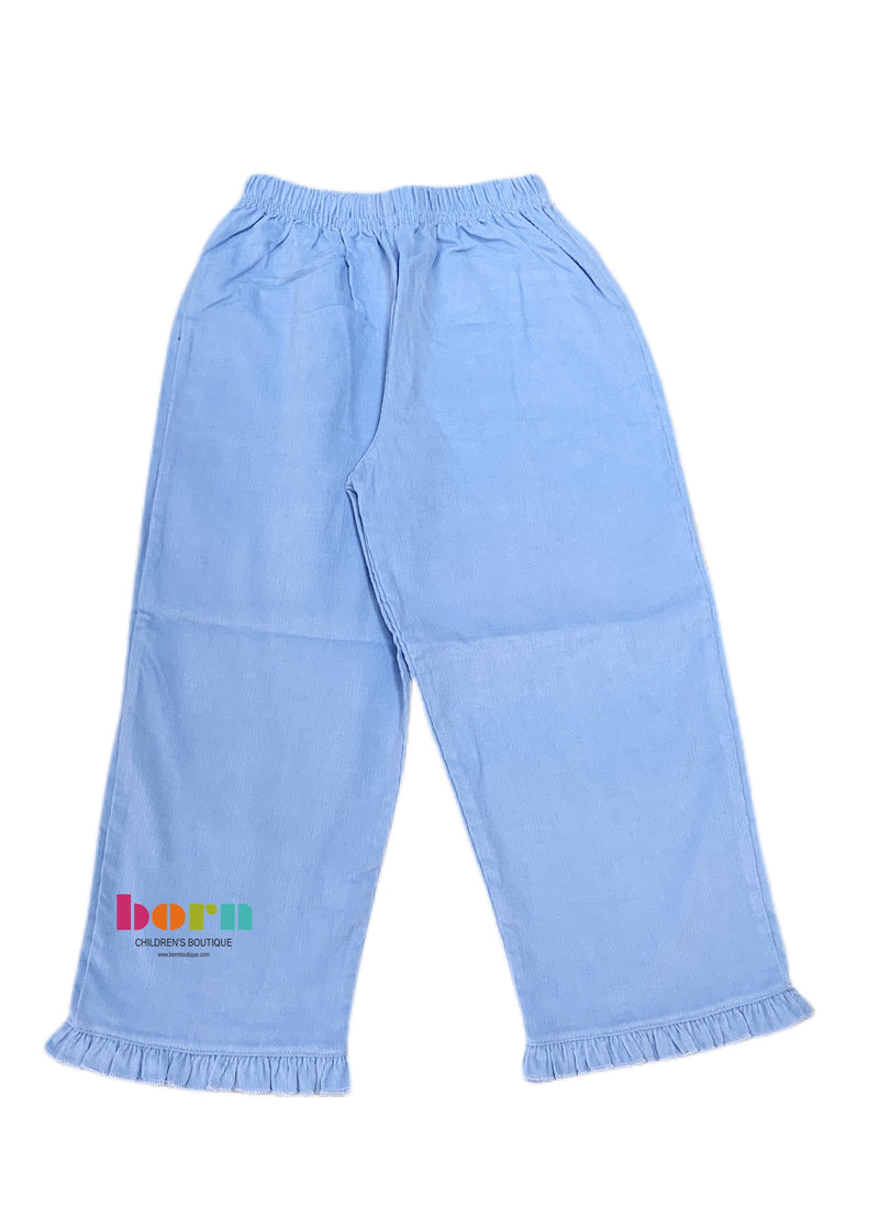Ruffle Pant Sky Blue Cord - Born Childrens Boutique