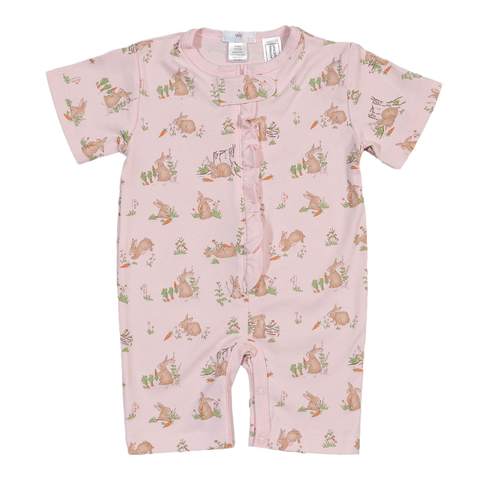 Pink Bunnies Pima Zipper Loungewear - Born Childrens Boutique