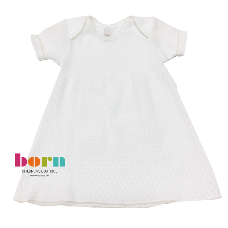 Lap Shoulder Day Dress White with Ecru
