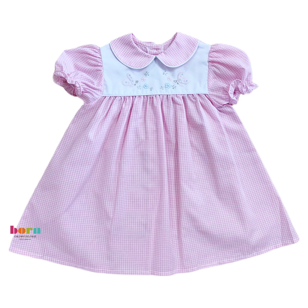 Daygown, Pink Check Butterfly - Born Childrens Boutique