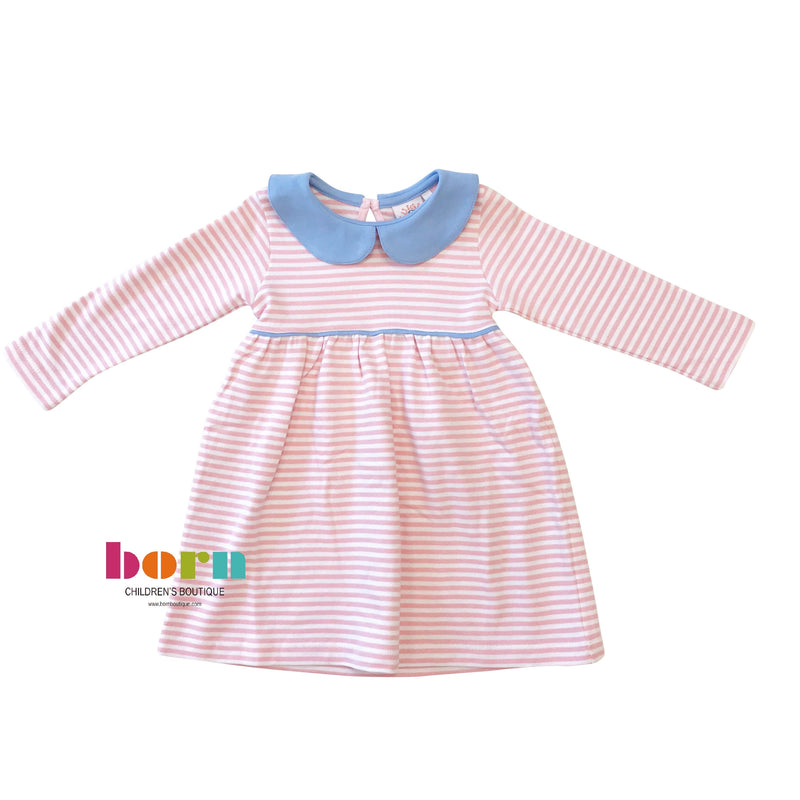 Gathered Peter Pan Dress Pink Stripe w/ Blue Collar - Born Childrens Boutique
