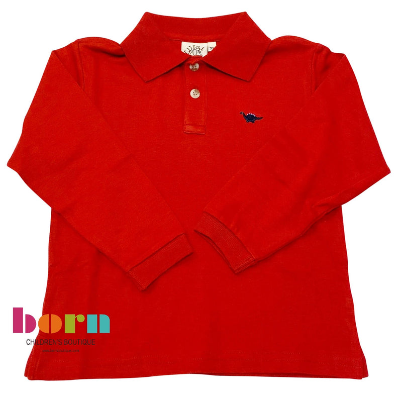 Long Sleeve Polo Deep Red w/ Dino Embroidery
