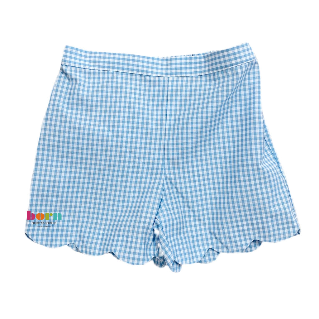 Girl Shorts - Blue Gingham - Born Childrens Boutique