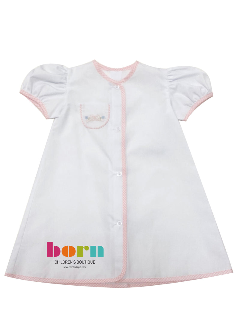 Auraluz Gown White Pink Check with Pink Bows - Born Childrens Boutique