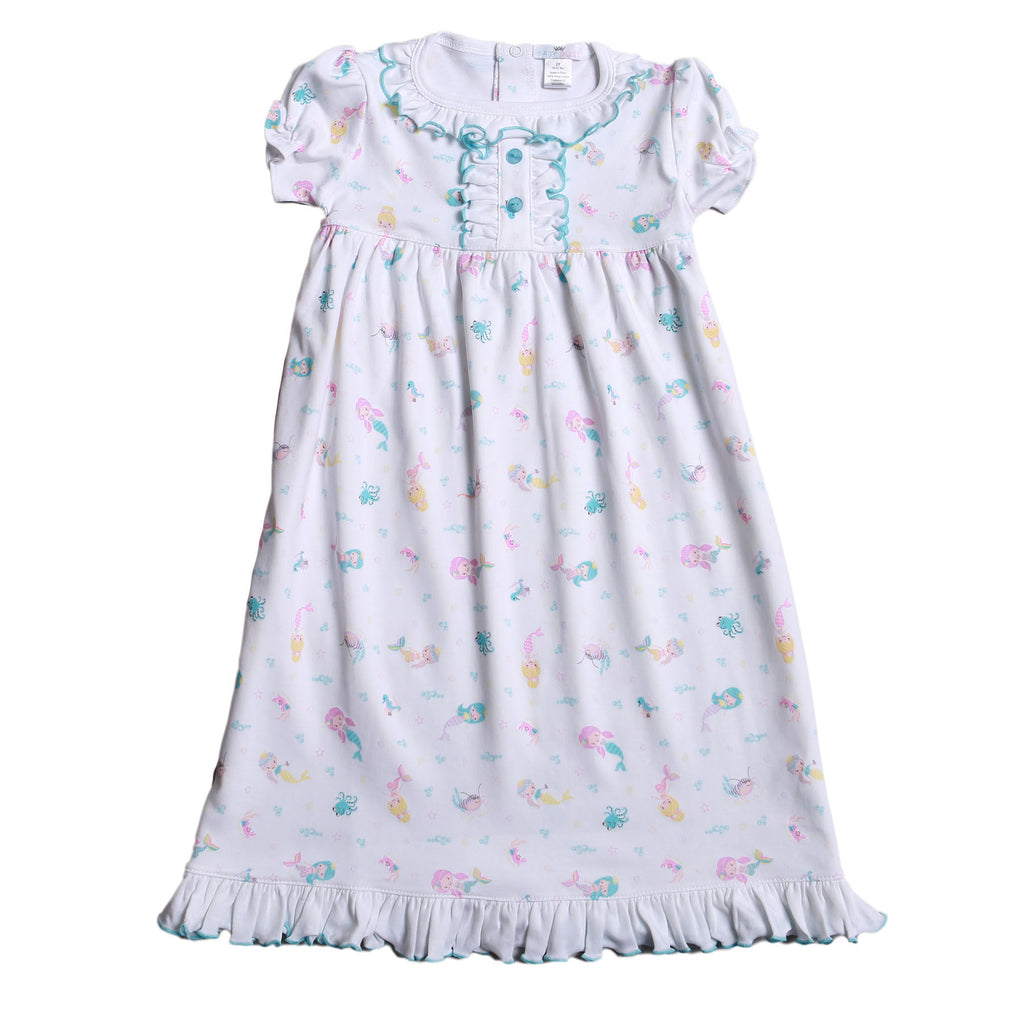 Mermaid And Sea Friends Pima Nightgown - Born Childrens Boutique