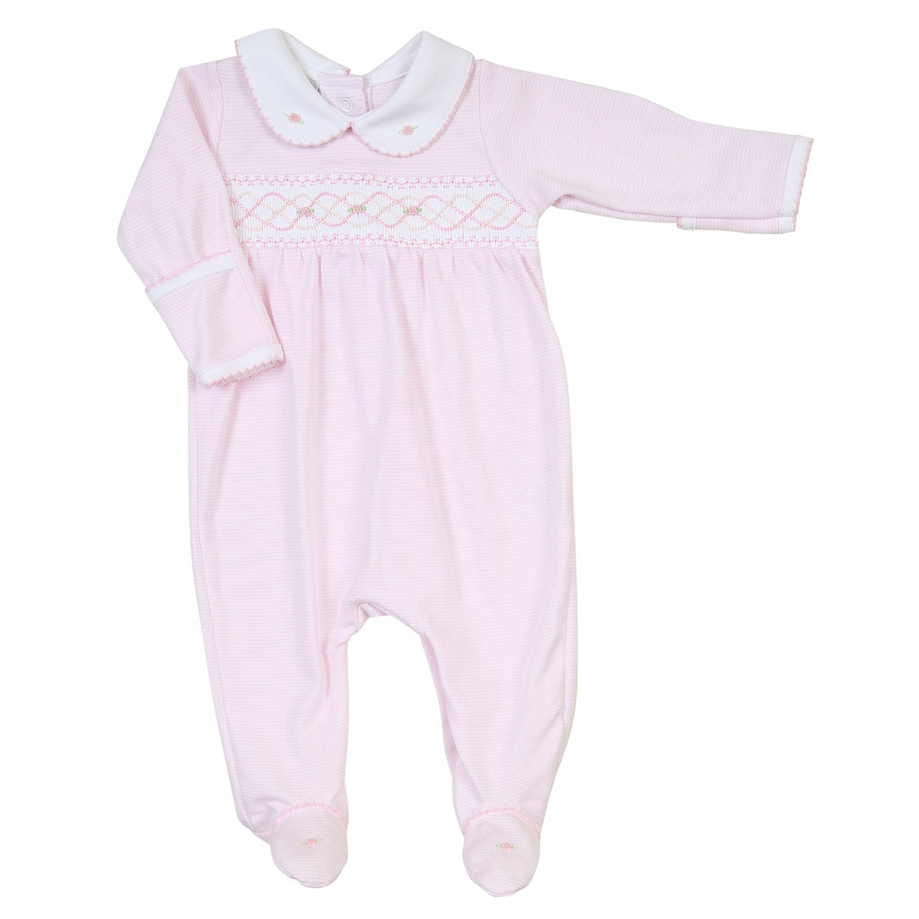 Claire and Clive's Classics Smocked Footie - Pink - Born Childrens Boutique