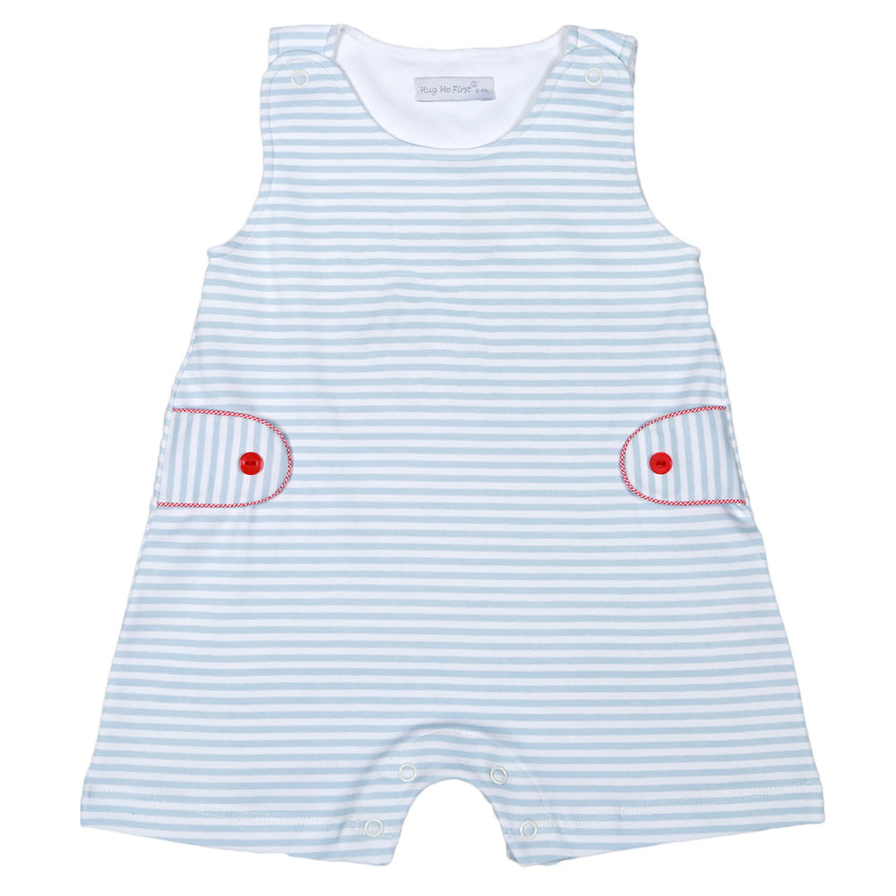 Blue Stripes Pima Overall - Born Childrens Boutique