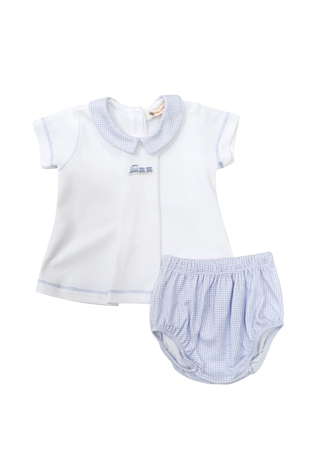 Boy White with Blue Gingham Knit Bloomer Set - Train - Born Childrens Boutique