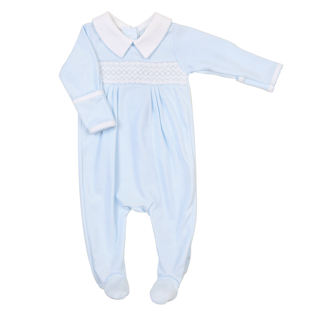 Claire and Clive's Classics Smocked Footie - Light Blue - Born Childrens Boutique