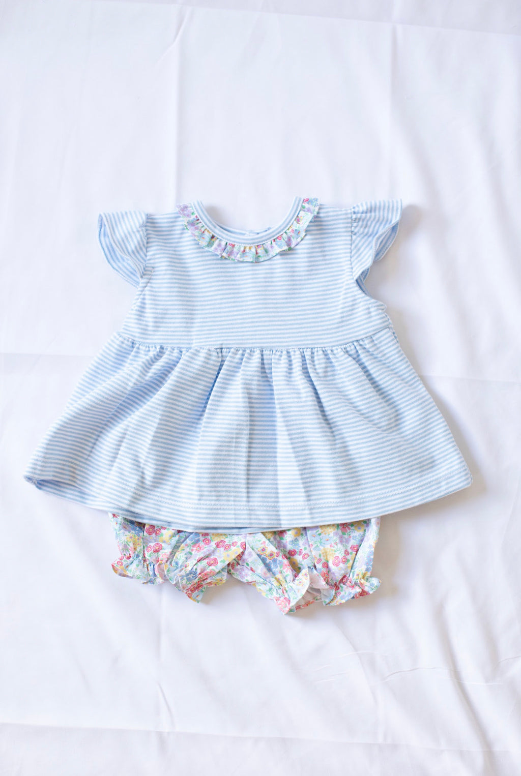 Ruffle Knit Bloomer Set - Churchill Floral Bloomer W Blue Candy Stripe Top - Born Childrens Boutique