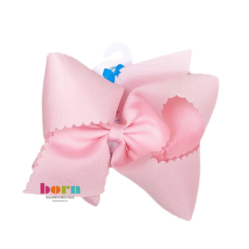 Wee Ones Scallop Light Pink Bow