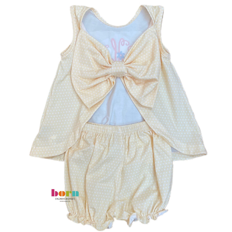 Pre-Order Lottie Bloomer Set - Yellow Polka Dot - Born Childrens Boutique