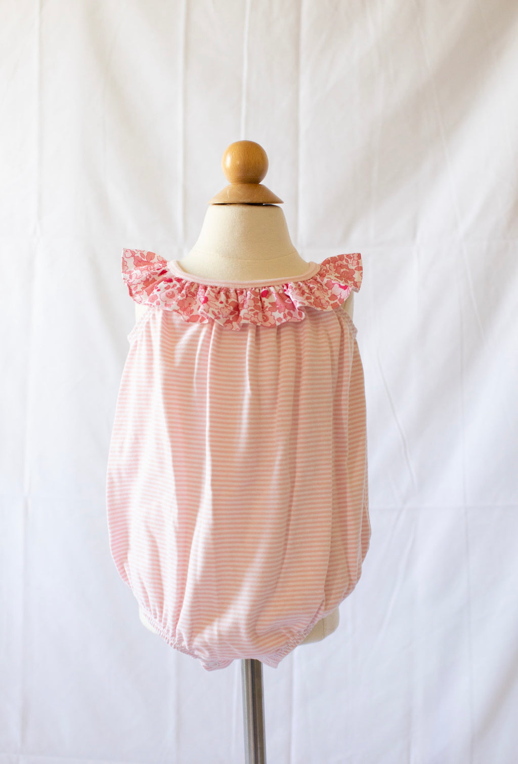 Knit Bubble - Pink Candy Stripe W Libba Floral - Born Childrens Boutique