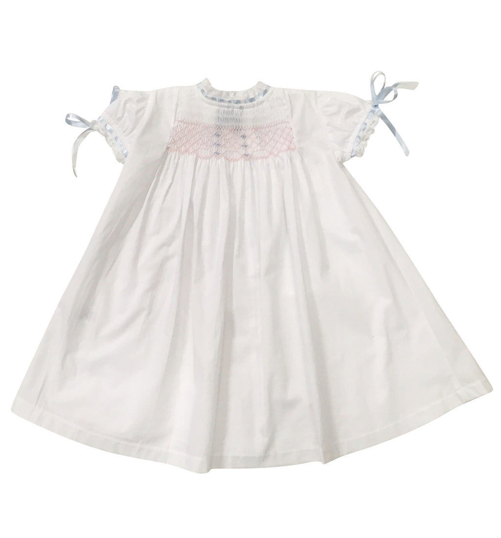 Smocked Blue and Pink Heirloom Gown - Born Childrens Boutique