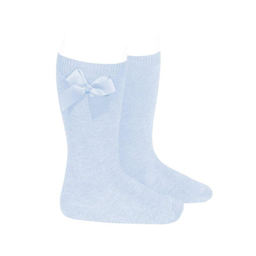 Knee Socks with Grosgain Bow on Sides Light Blue