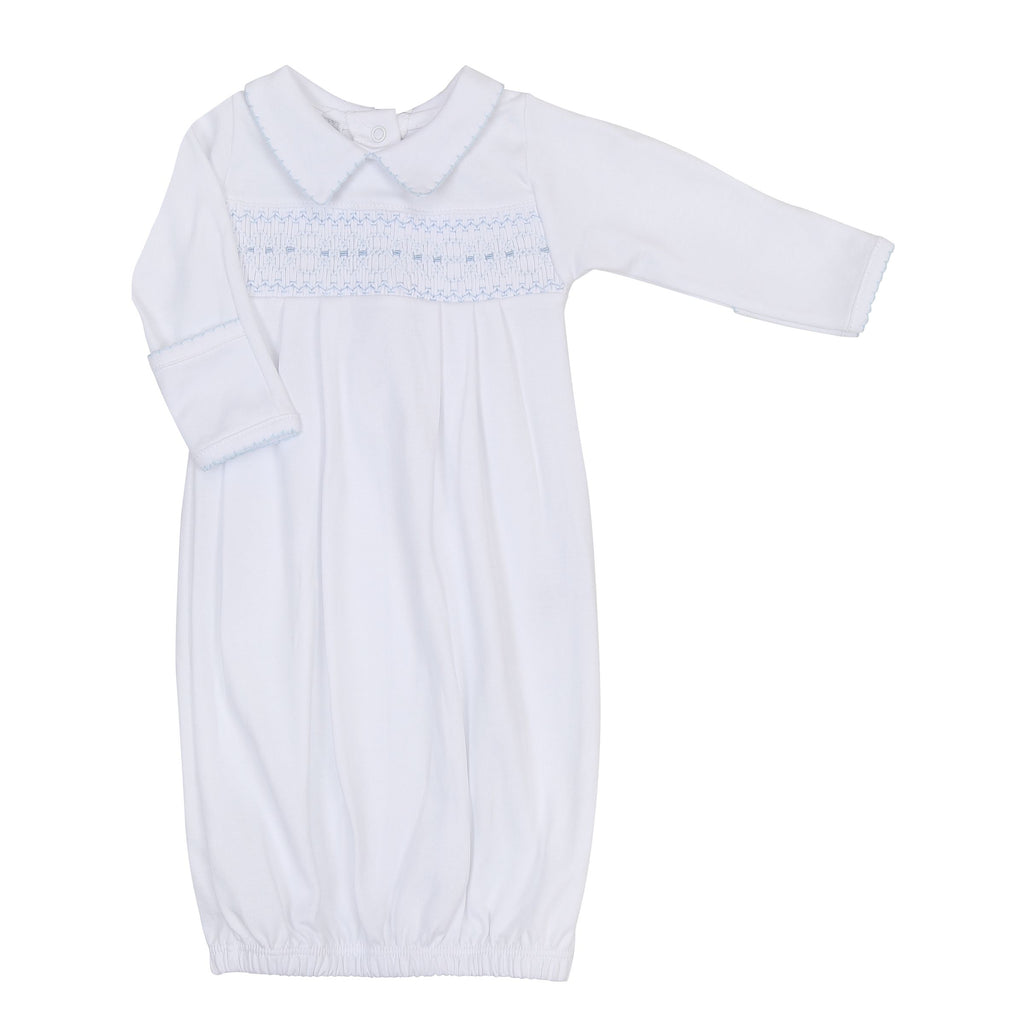 Becky and Ben's Classics Smocked Gown Blue - Born Childrens Boutique
