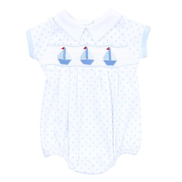 Classic Schooner Smocked Collared Boy Bubble - Born Childrens Boutique