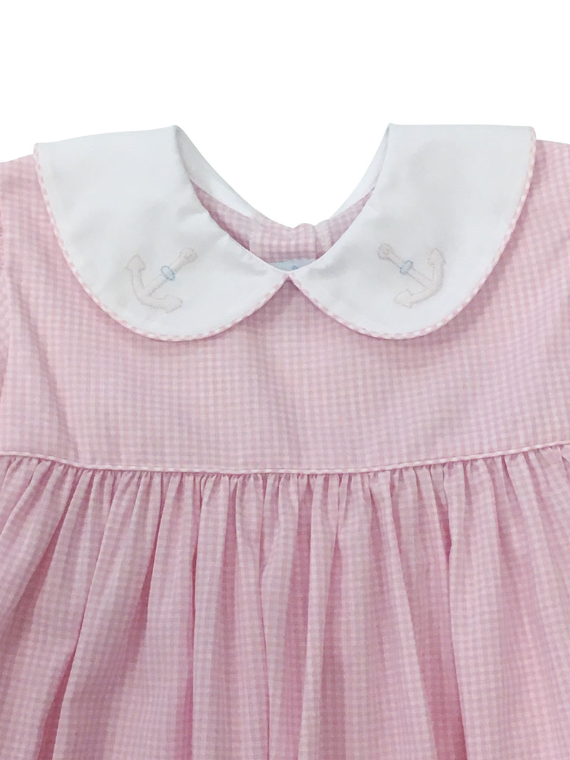Auraluz Pink Check Dress with Anchor - Born Childrens Boutique