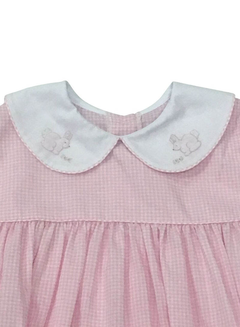 Auraluz Pink Check Dress with Bunny - Born Childrens Boutique