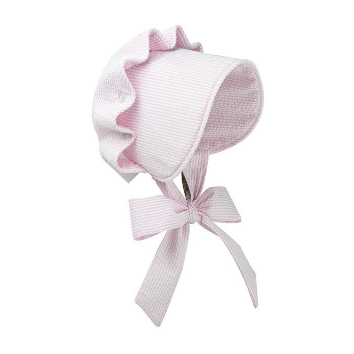 Beaufort Bonnet Breaker Savannah Pink Seersucker - Email to Order - Born Childrens Boutique