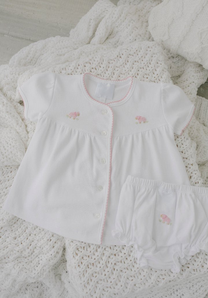 Pinpoint Layette Knit Set - Pink Sheep