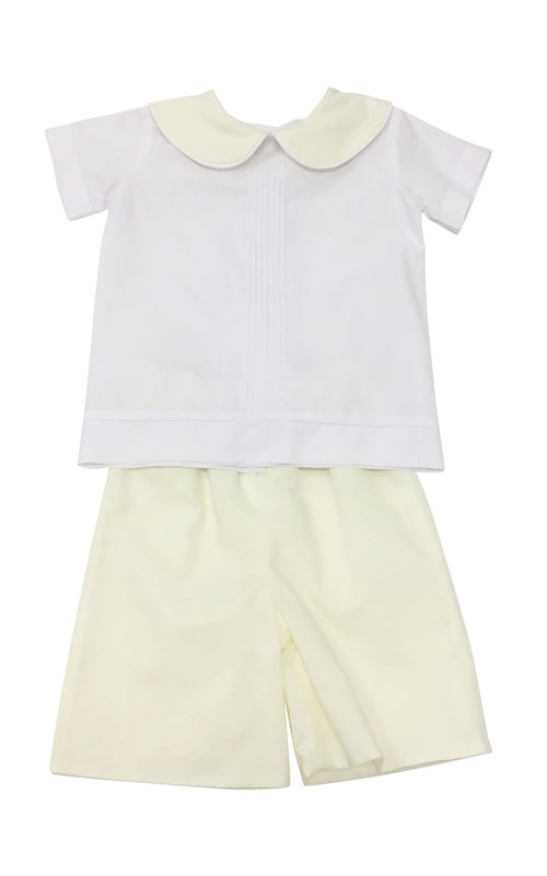 Heirloom White with Yellow Peter Pan Short Set