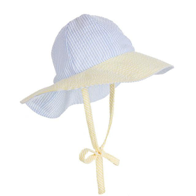 Beaufort Bonnet Sawyer Sun Hat Breaker Blue with Yellow SS -  Email to Order - Born Childrens Boutique