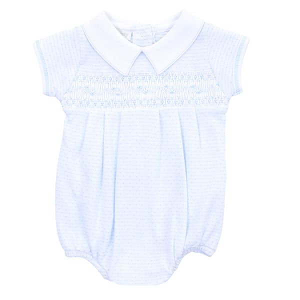 Maddy and Michael's Classics Smocked Collared Boy Blue - Born Childrens Boutique