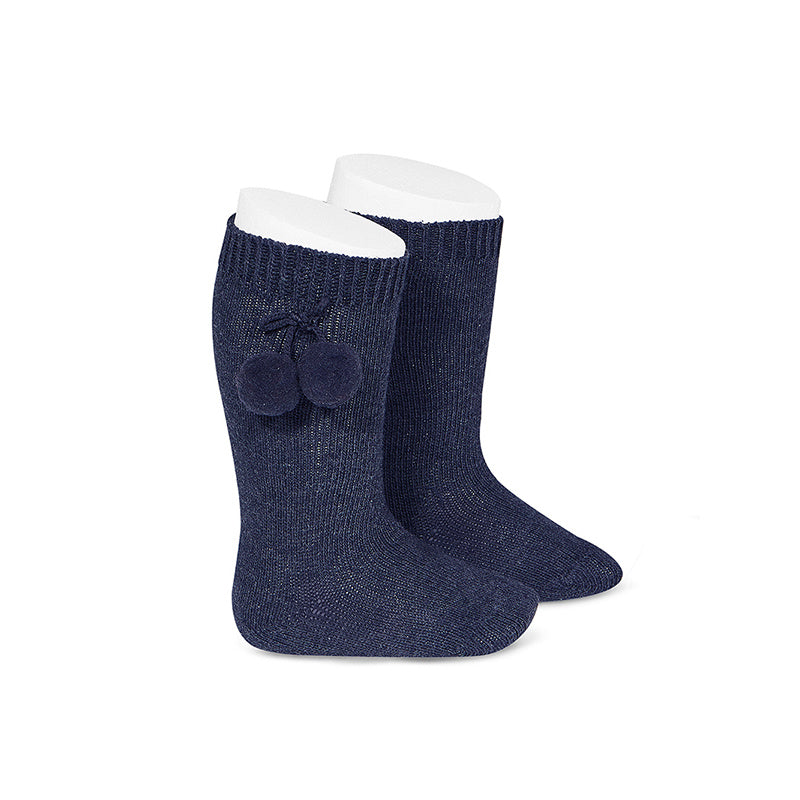 Pom Pom Knee Socks Marino (Navy) - Born Childrens Boutique