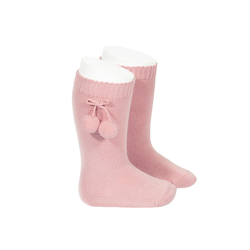 Pom Pom Knee Socks Rose - Born Childrens Boutique