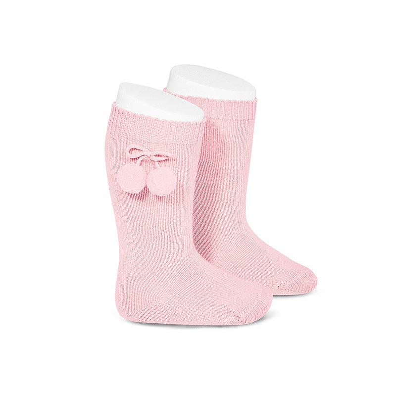 Pom Pom Knee Socks Light Pink - Born Childrens Boutique