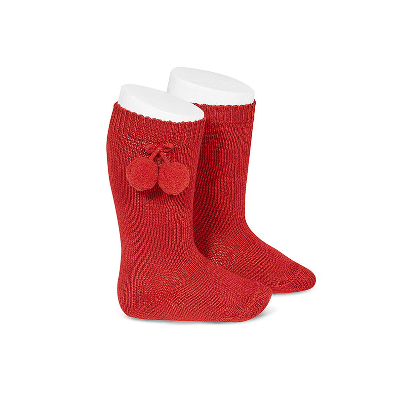 Pom Pom Knee Socks Rojo (Red) - Born Childrens Boutique