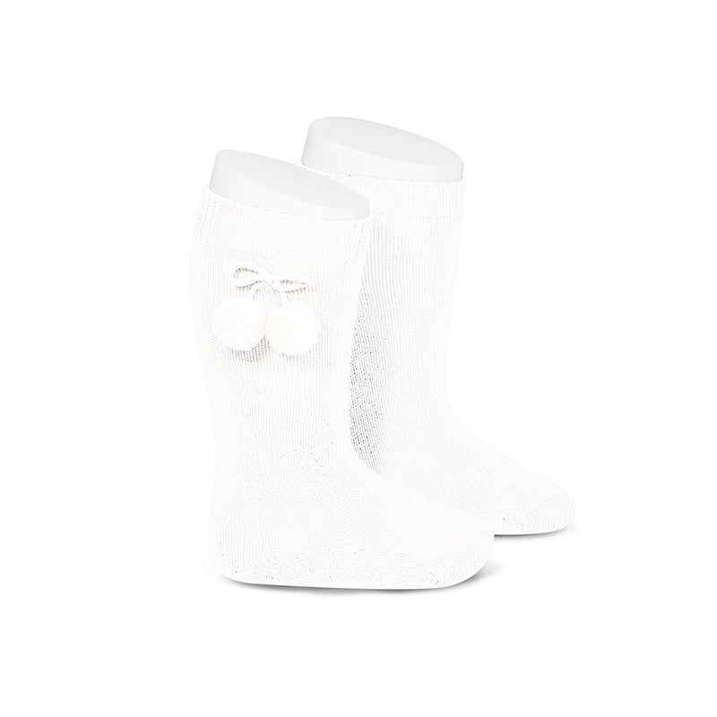 Pom Pom Knee Socks Blanco (White) - Born Childrens Boutique