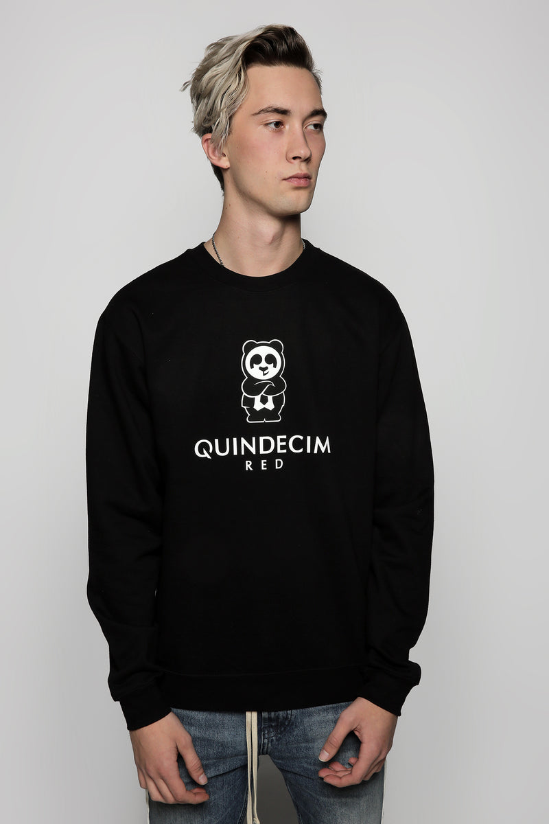 Men's Signature Crewneck (Black) - Quindecim Red