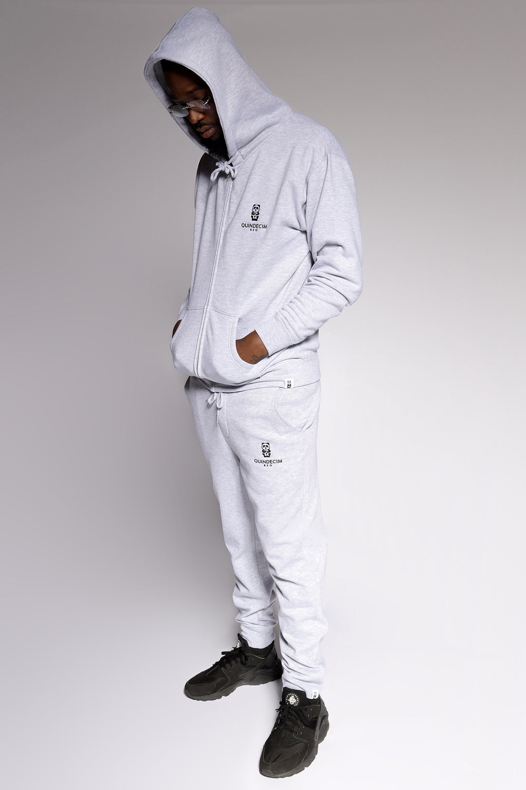 Panda Zip Hood (Light Grey) - Quindecim Red