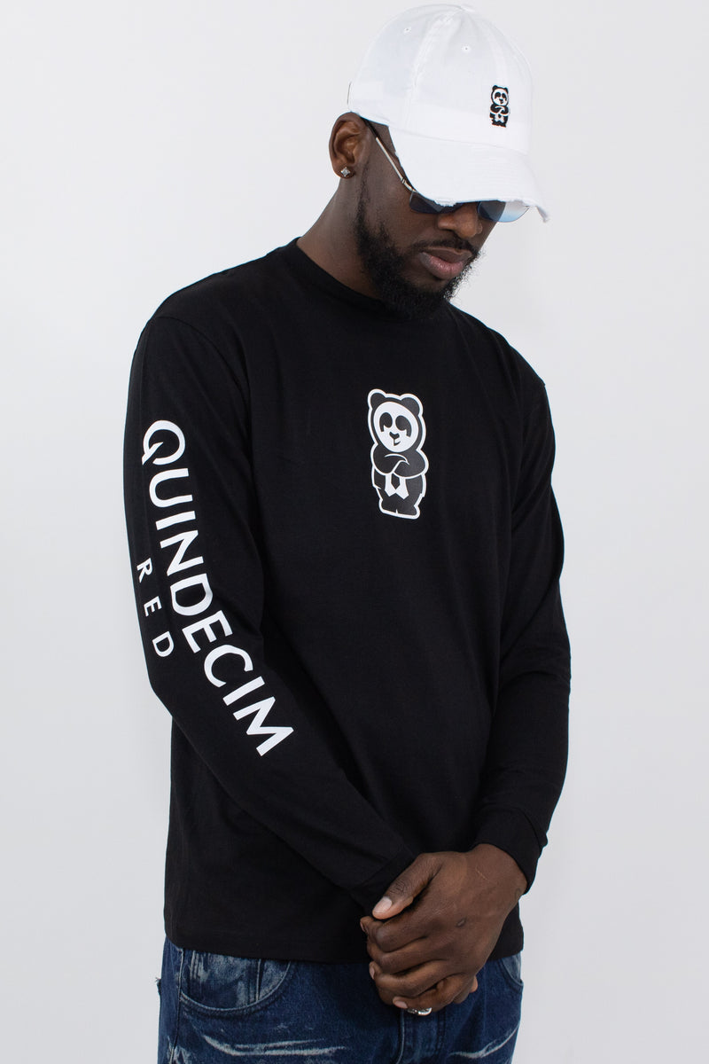 Long Sleeve Panda (Black) - Quindecim Red