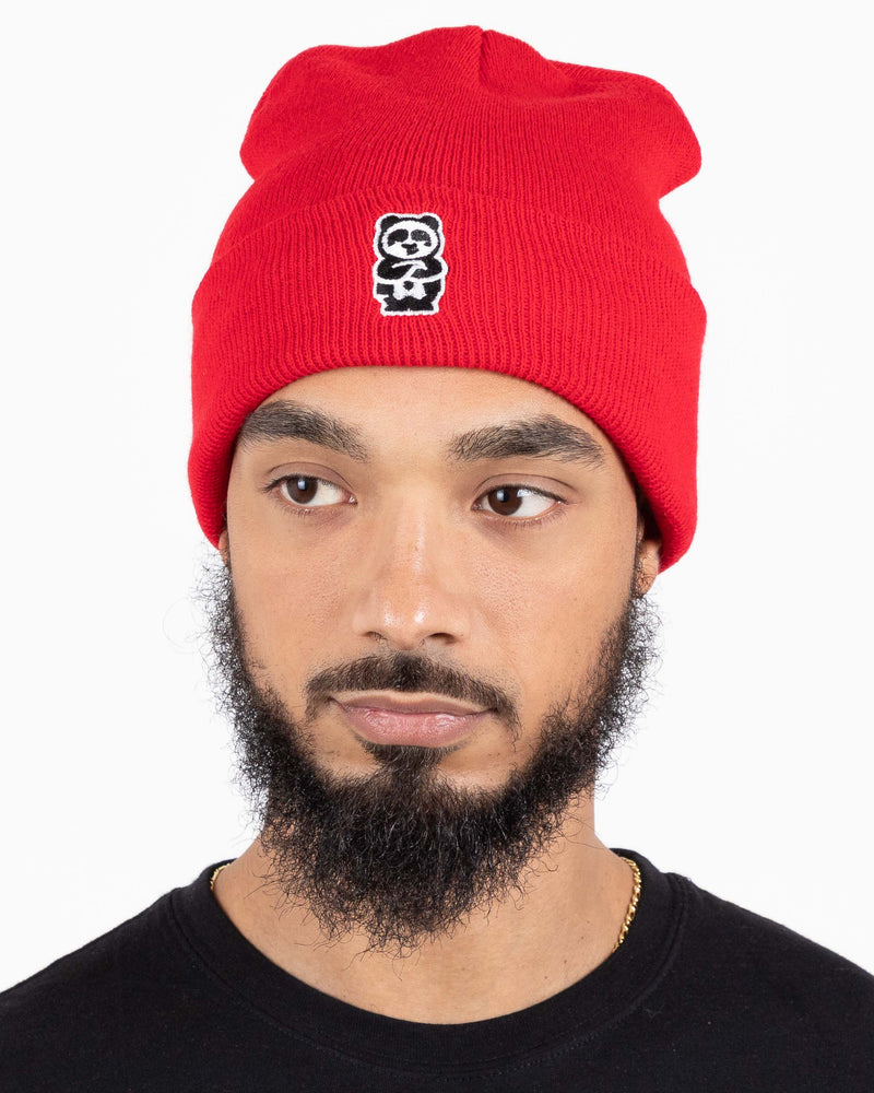 Panda + Handle Beanie (Red)