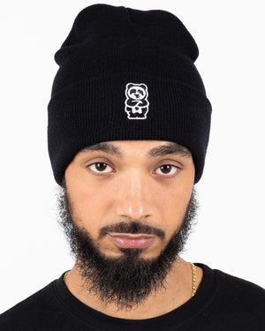 Panda + Handle Beanie (Black)