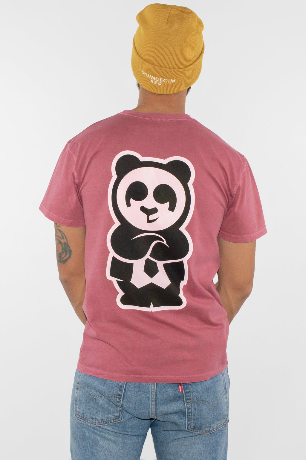 Giant Panda Fam Tee (Vintage Pink) - Quindecim Red