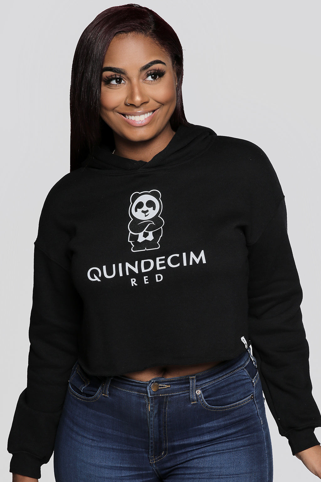 Women's Crop Hood (Black) - Quindecim Red